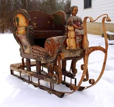 Horse drawn Sleigh and plenty of snow on the ground. Noel Christmas, Primitive Christmas, Country Christmas, All Things Christmas, Vintage Christmas, Christmas Sleighs, Norwegian Christmas, Christmas Scenes, Luge