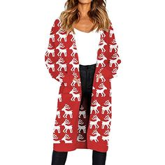 c6ff9011d2 STORTO Women Christmas Knitted Cardigan,Reindeer Print Open Front Sweater  Coat Long Knit Cardigan