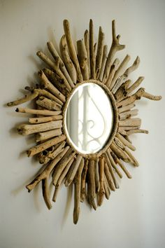 Sunburst Driftwood Mirror Beach House Style Mirror by MarzaShop, $40.00