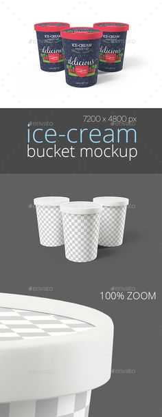 Ice-Cream Bucket Packaging Mockup (Triple) by vook23 Realistic Ice-Cream Bucket Mockup. Very easy to paste your artwork, changing texture and background. Customize: Texture Cap colo