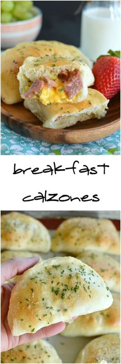 Breakfast Calzones have ham, cheese, and scrambled eggs nestled inside warm freshly baked bread! They can be made ahead and frozen for later too!