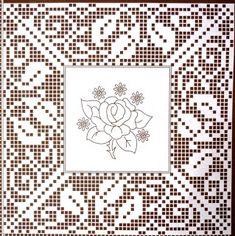 Crochet Patterns Filet, Crochet Doily Diagram, Crochet Borders, Crochet Motif, Crochet Designs, Crochet Lace, Crochet Roses, Crochet Dollies, Fillet Crochet