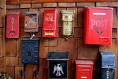 neighbor's collection of vintage mailboxes