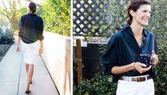 Lawren Howell / J.Crew / white denim skirt / Jean Stories