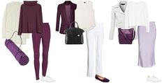 purple and white outfits   40plusstyle.com