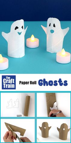 """Easy Halloween ghost craft for kids made from a paper roll. Use the printable template to get the outline and create using the """"Squash and cut"""" technique #halloweencrafts #paperrolls #kidscrafts #halloween #ghost #ghostcraft #kidsactivites #cardboard #recyclingcrafts"""