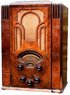 Listen to old time radio shows for free. Hear some of the greatest shows ever produced for radio and some recordings of major historical events. Antique Radio Cabinet, Radio Design, Vintage Television, Old Time Radio, Retro Radios, Horror Show, Timber Wood, Phonograph, Art Deco Design
