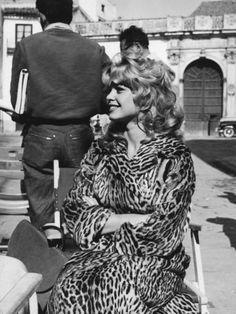 "Brigitte Bardot during the filming of ""Une Parisienne"" (1957)"