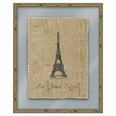 "Art print on linen with an Eiffel Tower motif. Made in the USA.   Product: Wall artConstruction Material: Wood, paper, glass and linenColor: Natural frameDimensions: 33"" H x 27"" W (framed)"