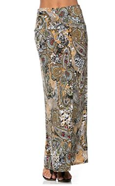 Azules Womens Poly Span Multiple Selection Paisley Print Maxi Skirt S Sand Beach G02 >>> Read more reviews of the product by visiting the link on the image.