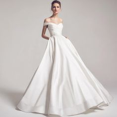Berkeley off shoulder silk chiffon ball gown with side pockets from Anne Barge Fall 2016