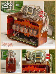 "Nixie Tubes RGB Alarm Clock 6x IN-12 ""Tempar Tesla"" by ""Copper Cat Art Group"""
