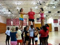 Leap Frog Stunt - YouTube Cheer Dance Routines, Cheer Moves, Cheer Pyramids, Cheerleading Pyramids, Cheer Pictures, Cheer Pics, Cheer Stuff, Easy Cheer Stunts, Easy Cheers