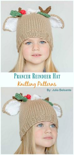 Prancer Baby and Toddler Reindeer Beanie Knitted Pattern - Baby # Hats; Prancer Baby and Toddler Reindeer Hat Knitting Pattern - Baby # hats; template , Prancer Baby and Toddler Reindeer Hat Knitting Patt. Vogue Knitting, Baby Hats Knitting, Knitting For Kids, Knitted Hats, Crochet Baby Booties, Crochet Beanie, Crochet Hats, Baby Hat Patterns, Easy Knitting Patterns