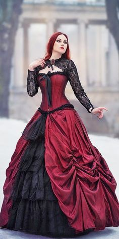 halloween wedding Gothic Ball Gown Victorian Wedding Dresses Black and Burgundy Lace Bridal Gowns Wedding Dress Black, Corset Wedding Gowns, Black Wedding Dresses, Bridal Gowns, Burgundy Wedding, Steampunk Wedding Dress, Halloween Wedding Dresses, Dress Plus Size, Gothic Dress