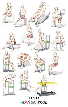 Tutorial Drawing Manga pose. Big posebook for manga anime character. : Chair poses