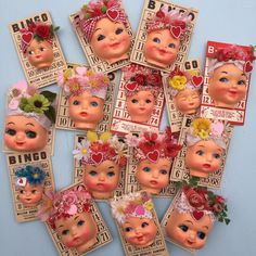 Doll faces on Bingo cards. Valentine Bingo, Vintage Valentines, Doll Head, Doll Face, Creepy Dolls, Zombie Dolls, Broken Doll, Valley Of The Dolls, Bingo Cards