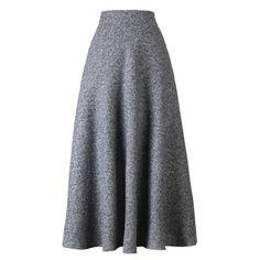Choies Gray High Waist Pocket Detail Woolen Midi Skirt (64 AUD) ❤ liked on Polyvore featuring skirts, grey, grey skirt, wool skirt, mid calf skirt, gray wool skirt and gray skirt
