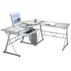 Economy Glass Work Station Without File Drawer by Dainolite. $388.04. Tables can be joined right or left side. Optional legal sized metal file drawer with pencil tray. L-Shaped work station. 5mm clear tempered glass. Metal keyboard tray. Enjoy the style and functionality of the Economy Glass Work Station. The ultra-modern desk features a cool, clean and contemporary design. The silver metal frame keeps the desk fresh and the sleek design will make sure it will look great anywh...