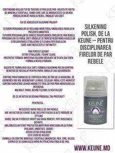 Keune Haircosmetics anunta lansarea celui mai nou produs din gama de ingrijire Care Line - Silkening Polish, un fluid fondant pentru disciplinarea firelor de par rebele si extra stralucire.  http://www.keune.md/index.php?pag=cproduct&cid=585&crid=126&l=ro