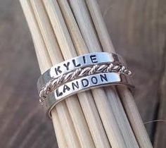 Custom Stackable Mother's Name Ring Set