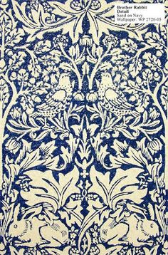 Pre Raphaelite Art: Brother Rabbit [Brer Rabbit] William Morris Wallpaper Pattern