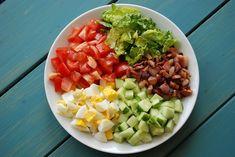 Dit is een gezonde salade die je makkelijk en snel kunt klaarmaken. Je kunt de bacon, ei, avocado en tomaat salade serveren als lunch of als hoofdgerecht bij het avondeten. Healthy Food Recipes, Avocado Recipes, Healthy Meal Prep, Salad Recipes, Guacamole, Light Summer Meals, Sauce Pizza, Avocado Health Benefits, Bacon Ei