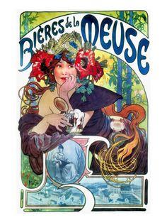 Bieres de la Meuse Ad By Mucha, C1897