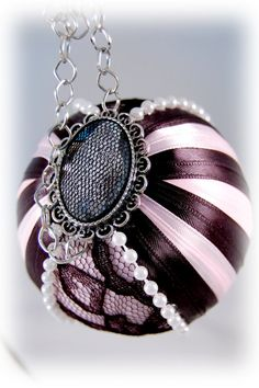 Pink and Black Christmas Ornament Ball  French by ornamentgirl, $34.00