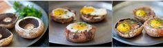 complete mini meal except veggies: baked eggs prosciutto portobello caps