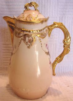 French Limoges Chocolate Pot Rose Garlands c 1900 - 1908