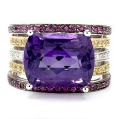 18k White Gold, Amethyst, Ruby, Yellow Sapphire and Diamond Ring (=)