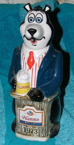 VINTAGE HAMM'S BEER BEAR 1073 CERAMARTE BOTTLE DECANTER PODIUM SUIT AND TIE #Collectible