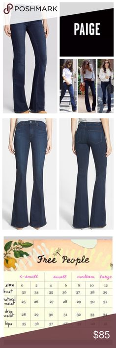 "Anthropologie Paige Bell Canyon Flared Jeans. NWT. Anthropologie Paige Cameron Wash High Rise Stretchy Bell Canyon Flare Jeans, 54% rayon, 23% cotton, 22% polyester, 1% spandex, machine washable, 30"" waist, 10.5"" front rise, 14.5"" back rise, 35.5"" inseam, 22"" leg opening all around, 5-pocket, fading, whiskering, zip fly button front closure, Paige signature leather patch on back, Paige new Transcend fabric features a formula that yields luxuriously denim that won't stretch out and will turn…"