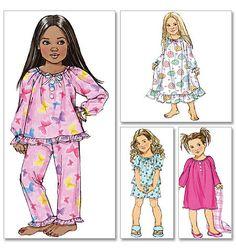 Items similar to Girls' Easy Pajama Pattern, Girls' Nightgown Pattern, Girls' Short PJs Pattern, Butterick Sewing Pattern 4910 on Etsy Sewing Patterns Girls, Kids Patterns, Dress Patterns, Cute Pajamas, Girls Pajamas, Nightgown Pattern, Pajama Pattern, Girls Sleepwear, Simple Girl