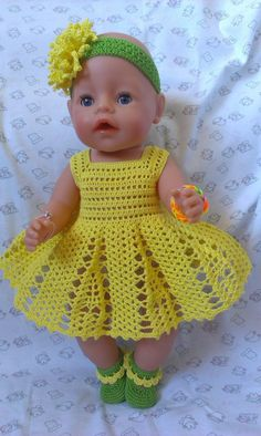Crochet Doll Dress Crochet Doll Clothes Knitted Dolls Baby Born Clothes Pet Clothes Crochet Boots Baby Girl Crochet Crochet For Kids Baby Dolls Crochet Doll Dress, Crochet Doll Clothes, Crochet Doll Pattern, Doll Clothes Patterns, Crochet Patterns, Baby Girl Crochet, Newborn Crochet, Baby Born Kleidung, Baby Born Clothes