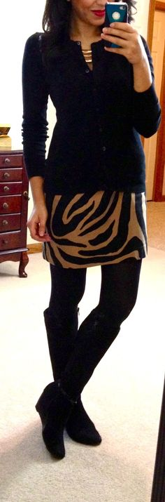 Old Navy cardi, LOFT zebra print skirt, F21 bib necklace, Dana Buchanan tall wedge boots via Kohl's