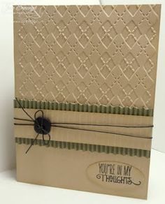 Jan Marie Ennenga , Re-Creations: CAS Masculine Card on Kraft; Verve stamp; Cuttlebug Argyle Embossing Folder, Paper Crimper