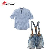 New Boys Meninos Jeans Set Solid Color White Blouse with Suspender Trousers Short Pant Children Summer Clothing Kids Cloth Set