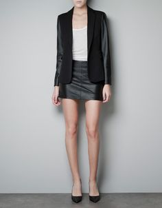 BLAZER WITH FAUX LEATHER SLEEVES - $99.90. Love this even more because it's animal friendly.