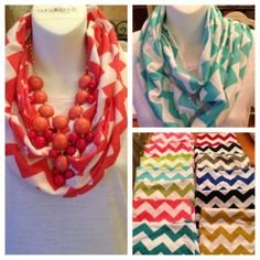Chevron Zig Zag Stripe Jersey Knit Infinity Cowl Scarf Scarves Game Day Colors | eBay
