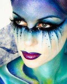 Alien makeup inspiration for my Halloween costume :) Fairy Fantasy Makeup, Fantasy Make Up, Fantasy Hair, Dark Fairy Makeup, Dark Fantasy, Fairy Make-up, Make Up Designs, Alien Makeup, Extreme Makeup