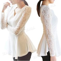 Women's Korea Style Flared Peplum Sexy Shirts HOT Style Lace Sleeve Blouse