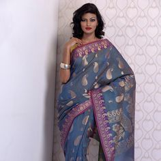 Blue Banarsi Kora Silk Saree With Blouse