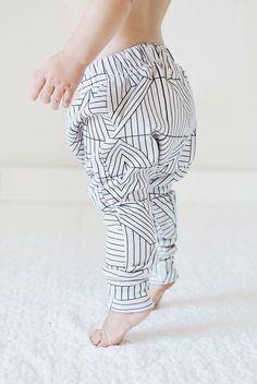 Skinny Organic Baby Harems - Geometric Cream