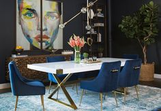 Looking for modern dining room ideas with furniture and decor? Explore our beautiful dining room ideas for interior design inspiration. Contemporary Home Decor, Modern Decor, Rustic Decor, Modern Art, Side Chairs, Dining Chairs, Lounge Chairs, Side Tables, Modern Dining Table