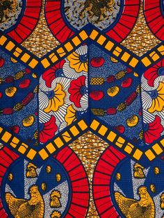 African Fabric Designs Real Wax Blue Red Yellow Leaves Chicken Pattern For Dress rw514204