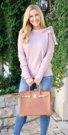 #winter #outfits women's pink long-sleeved shirt and blue denim jeans outfit. Click To Shop This Look.