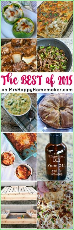 Everything from Philly Cheesesteak Stuffed Peppers to the BEST 3 ingredient anti-aging moisturizer – here are the MOST POPULAR RECIPES & DIYS of 2015 on MrsHappyHomemaker.com!