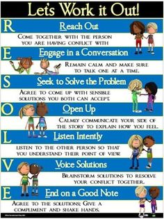 Task Shakti - A Earn Get Problem Conflict Resolution Poster: Resolve-Let's Work It Out Problem Solving Skills, Coping Skills, Social Skills, Life Skills, Character Education, Physical Education, Art Education, Education Quotes, Peer Mediation